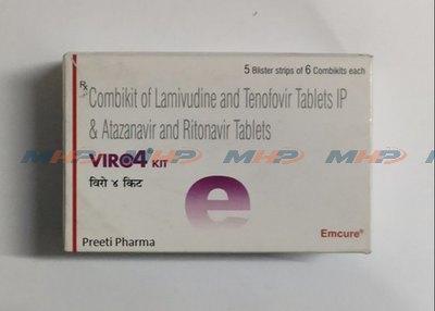 Viro4 kit(Тенофовир дизопроксилфумарат + ламивудин + атазанавир + ритонавир)